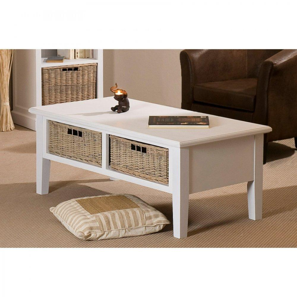 Tables basses tables et chaises table basse 2 tiroirs eva en bois blanc style charme colonial - Table basse bois et blanc ...