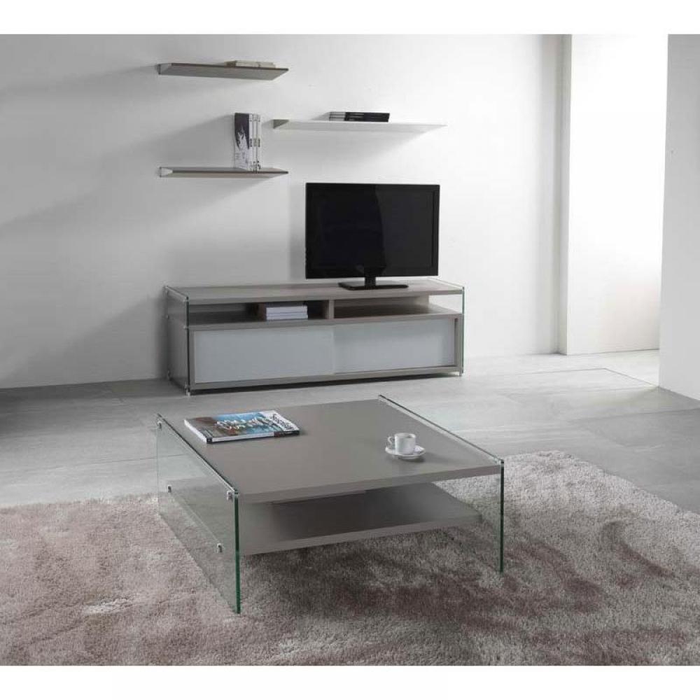 Table basse en verre gris for Table basse 2 plateaux
