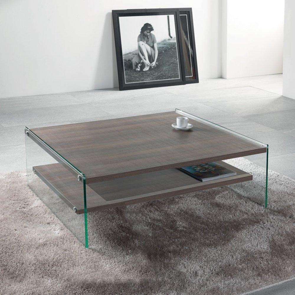 tables basses tables et chaises table basse bella 2 plateaux coloris orme pi tement en verre. Black Bedroom Furniture Sets. Home Design Ideas
