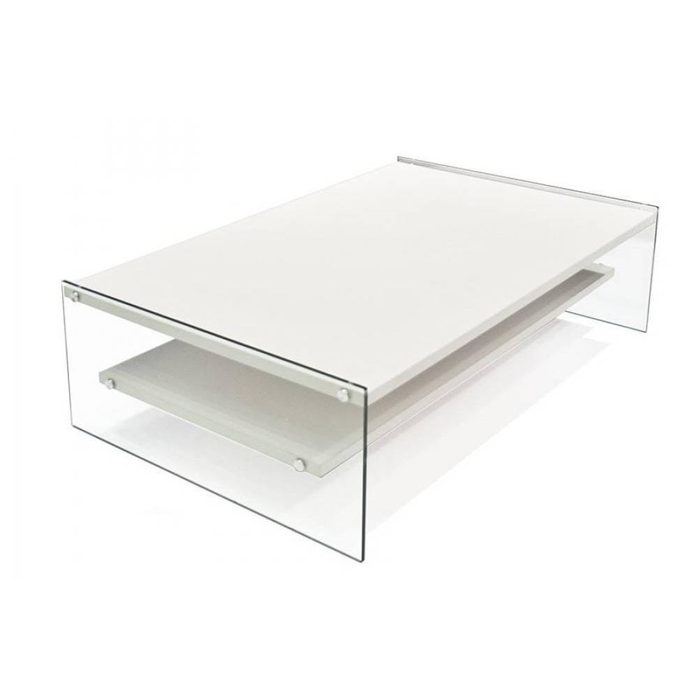 Table basse rectangle bella 2 plateaux blanc avec pi tement en verre ebay - Table basse en verre 2 plateaux ...