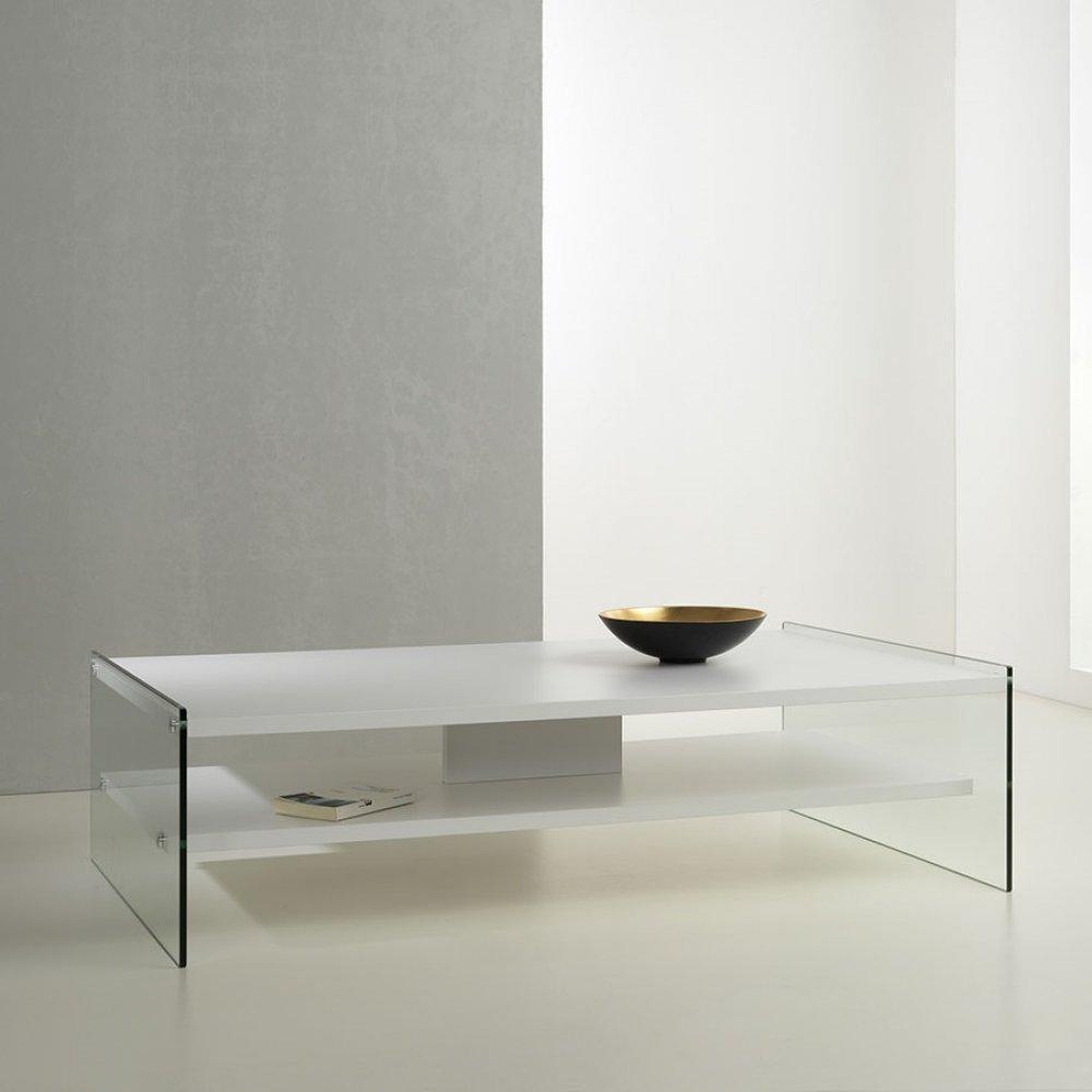 Tables basses tables et chaises table basse rectangle bella 2 plateaux blan - Table basse en verre 2 plateaux ...