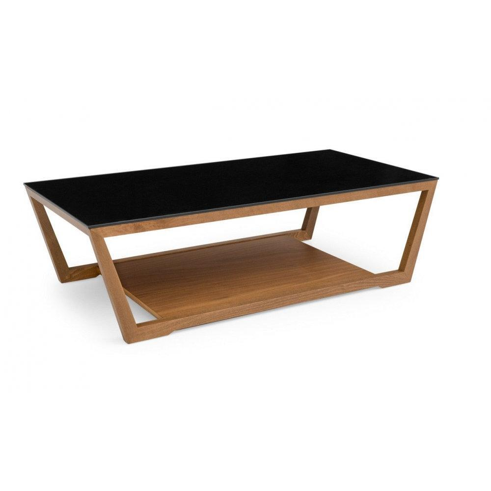 Tables basses tables et chaises table basse element noyer avec plateau en v - Table basse en verre noir ...