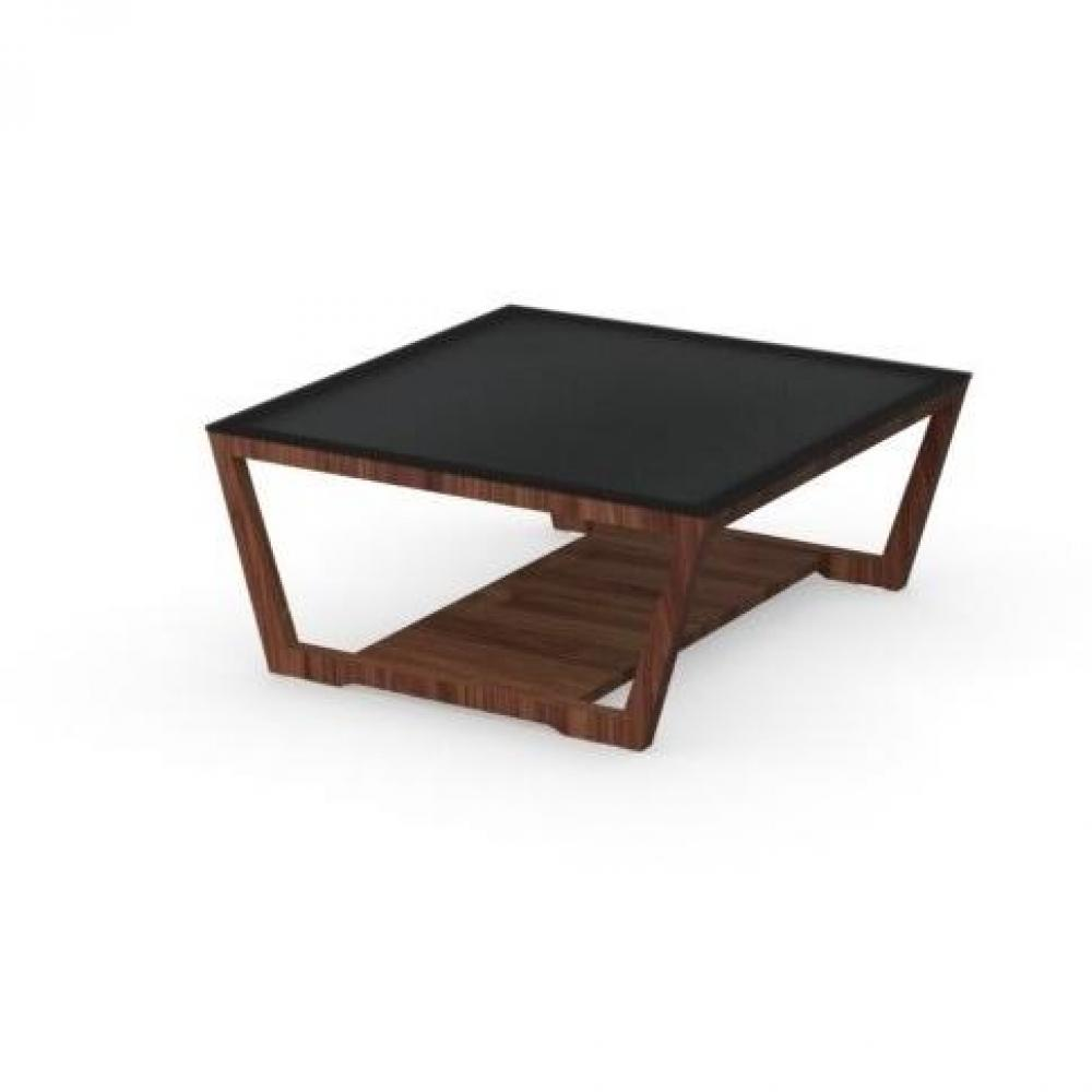 Tables basses tables et chaises calligaris table basse element noyer avec plateau en verre - Table basse en verre noir ...