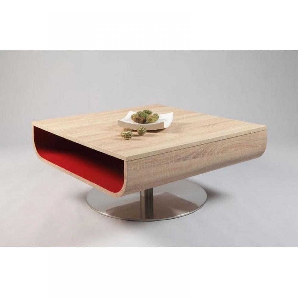 Table basse cordelia ch ne blanc de sonoma avec rangement - Table basse rouge laque ...