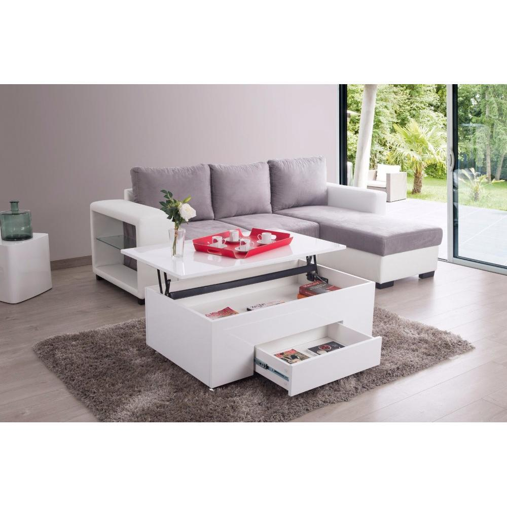 Tables basses tables et chaises table basse coffre rinalto roulettes blan - Table basse coffre blanc ...