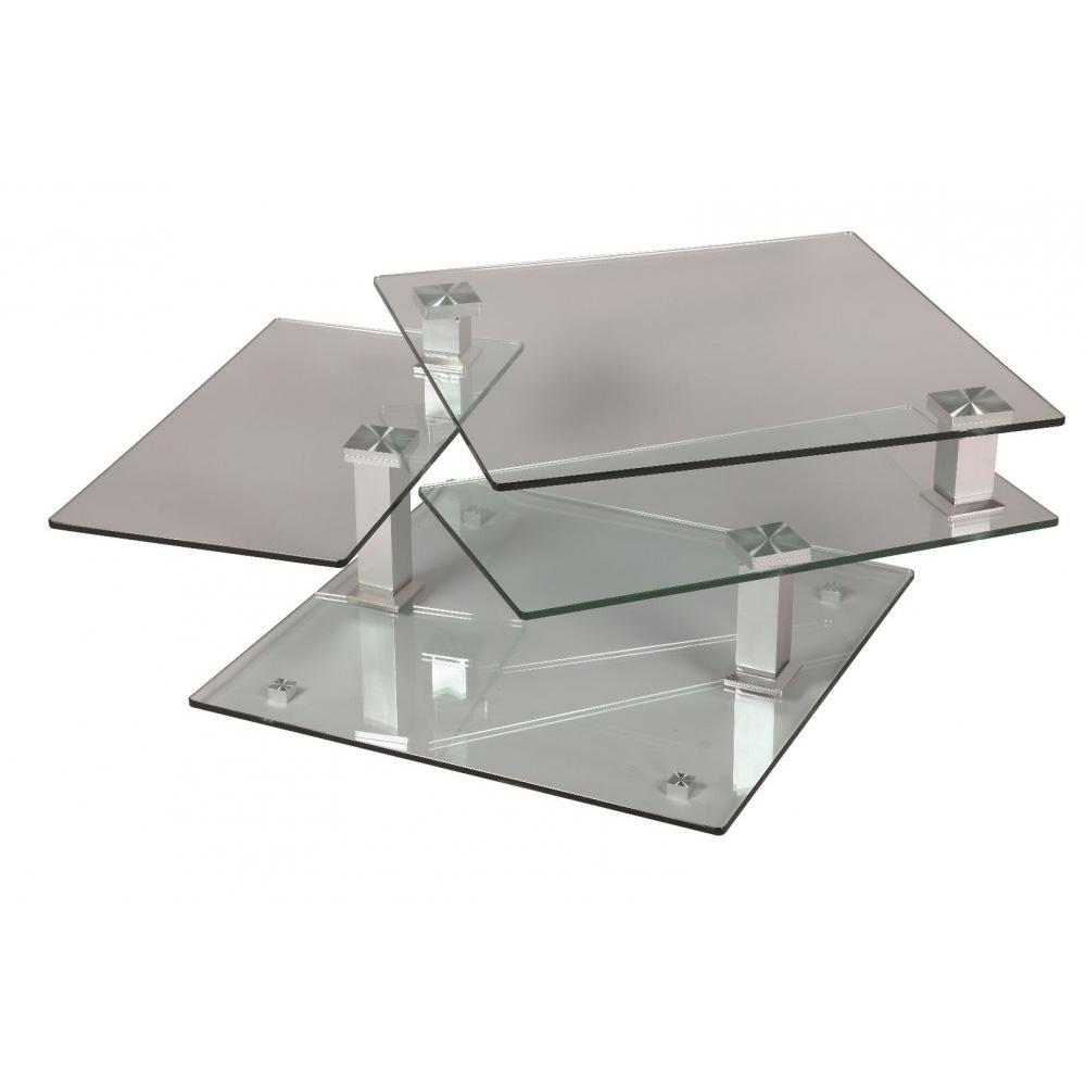 Tables basses tables et chaises table basse design cube - Table basse acier verre ...