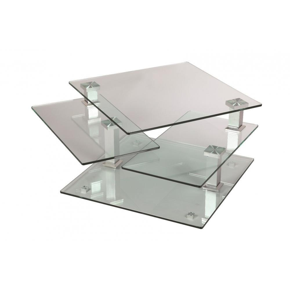 Tables basses tables et chaises table basse design cube - Table basse en verre et acier ...