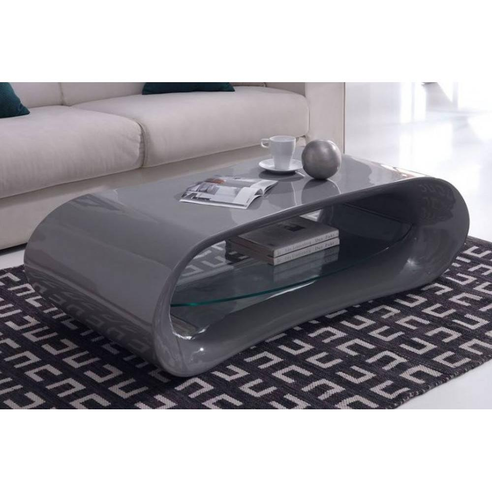 Tables basses tables et chaises table basse design ka na en fibre de verre gris brillant avec - Table basse laquee grise ...