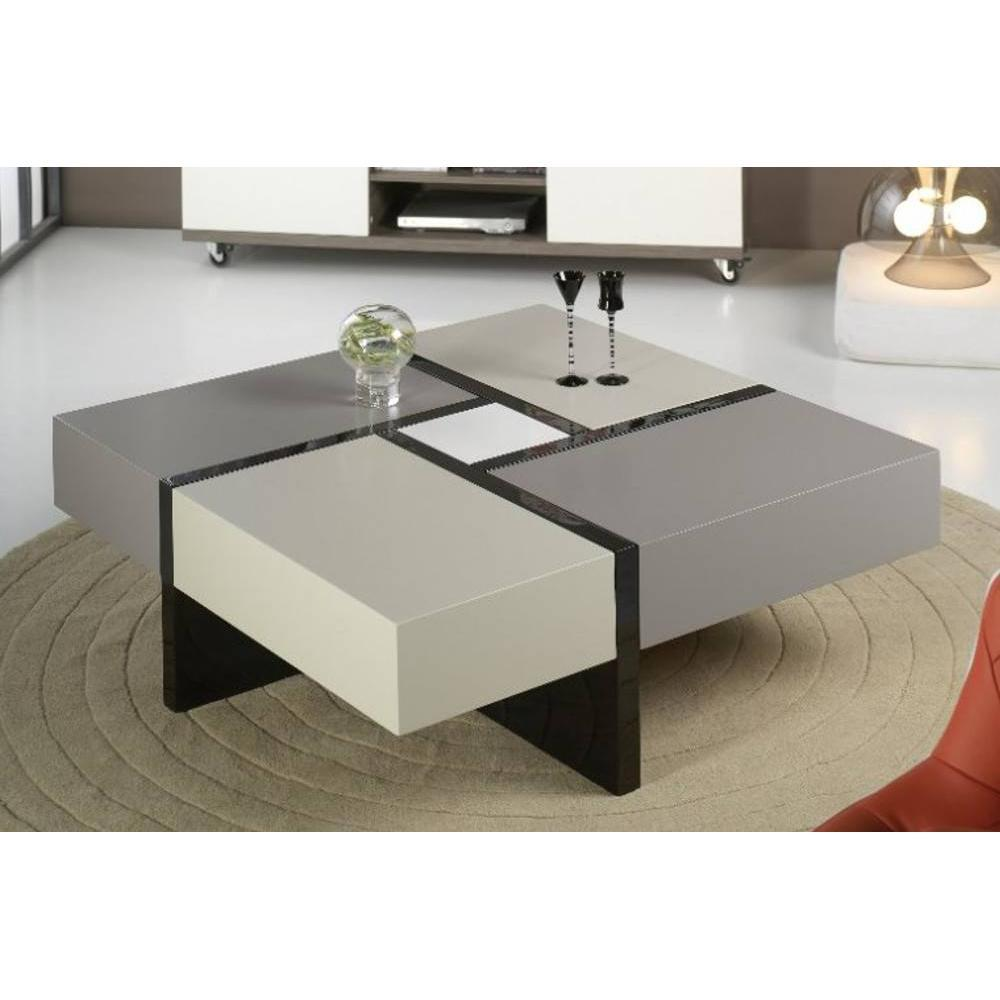 tables basses tables et chaises table basse design molly grise et taupe avec 4 tiroirs. Black Bedroom Furniture Sets. Home Design Ideas