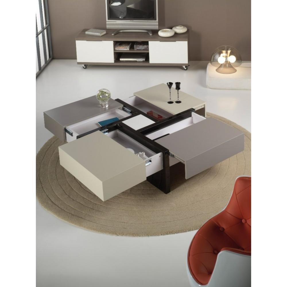 Tables basses tables et chaises table basse design molly grise et taupe ave - Table basse ronde avec tiroir ...