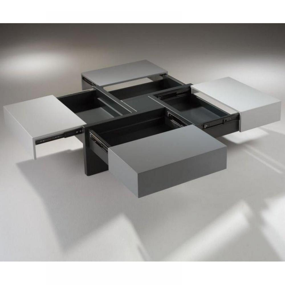 Tables basses tables et chaises table basse design molly grise avec 4 tiroi - Table basse grise design ...