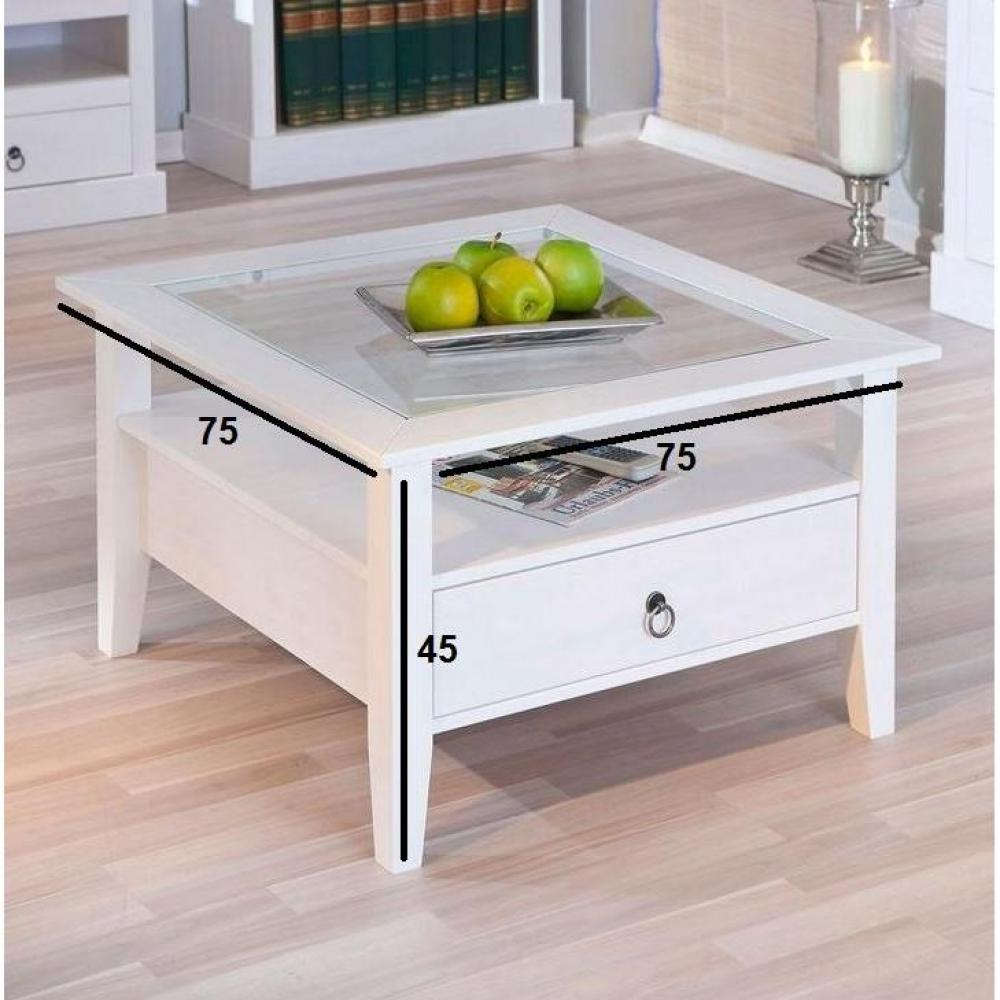 Tables basses tables et chaises table basse design provence blanche en pin - Table basse blanche but ...