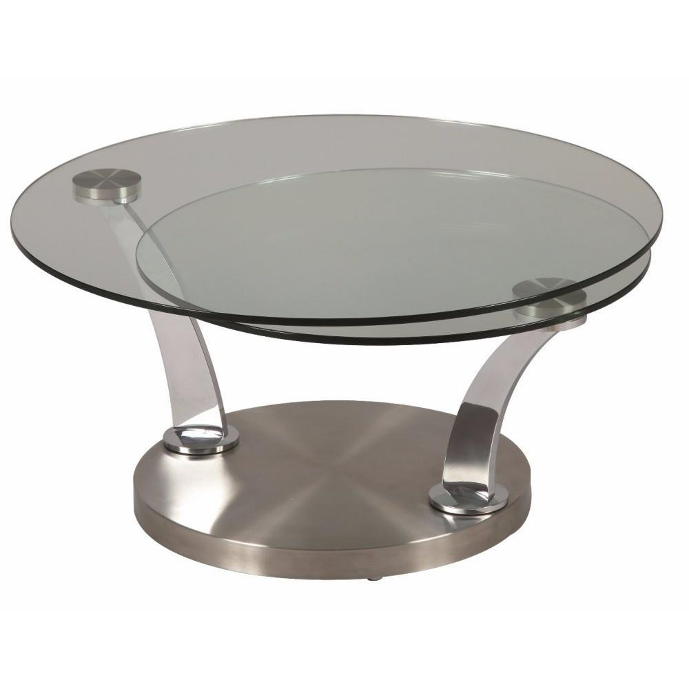 Table basse design metal brosse for Table ronde verre design