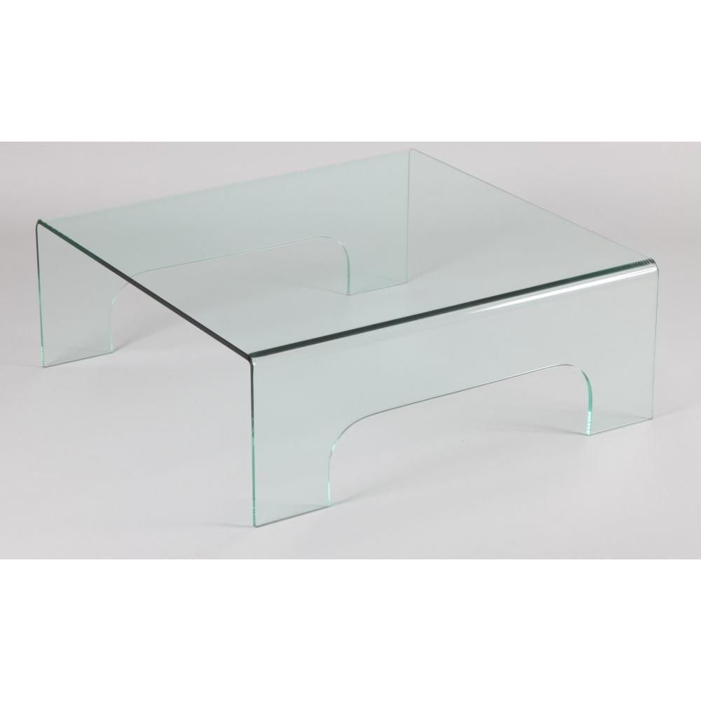 Tables basses tables et chaises table basse carr en for Table de television en verre
