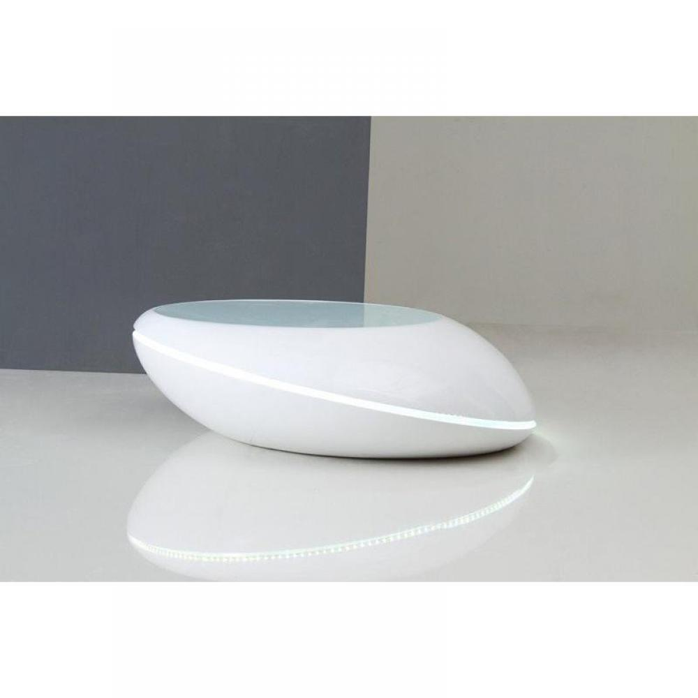 Cyber monday week galet table basse design blanc avec eclairage led inside75 - Table basse forme galet ...