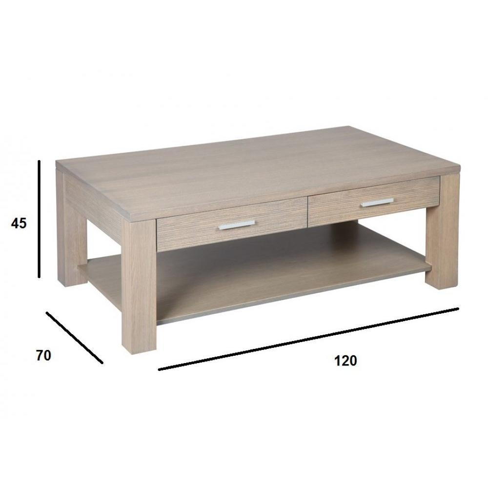 Tables basses, tables et chaises, Table basse HANS en chêne massif gris taupe # Table Basse Gris Taupe