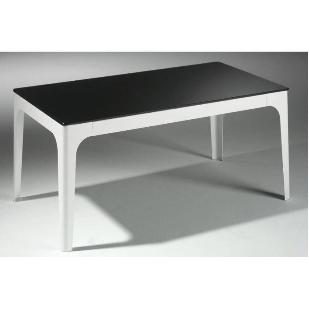 Table basse en laque noir for Table en verre et chaise