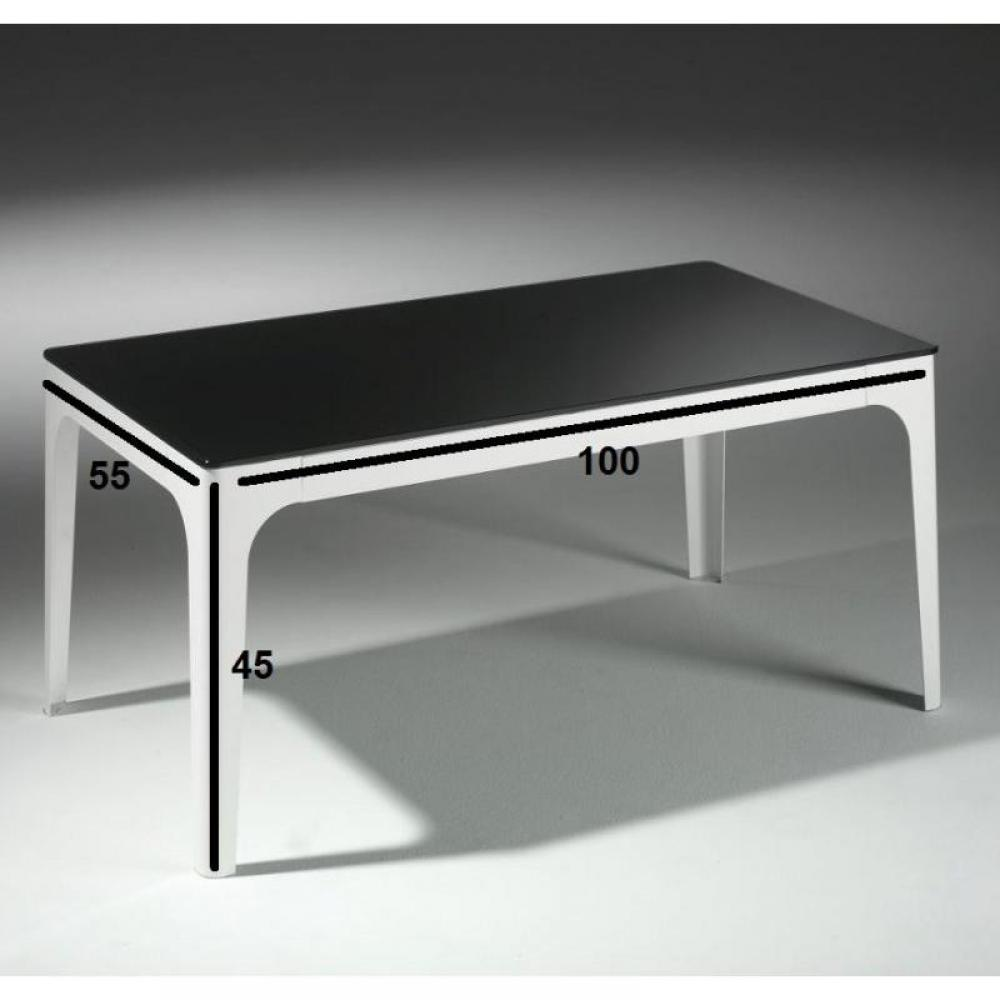 Table basse en verre noir et blanc for Table basse blanc et noir
