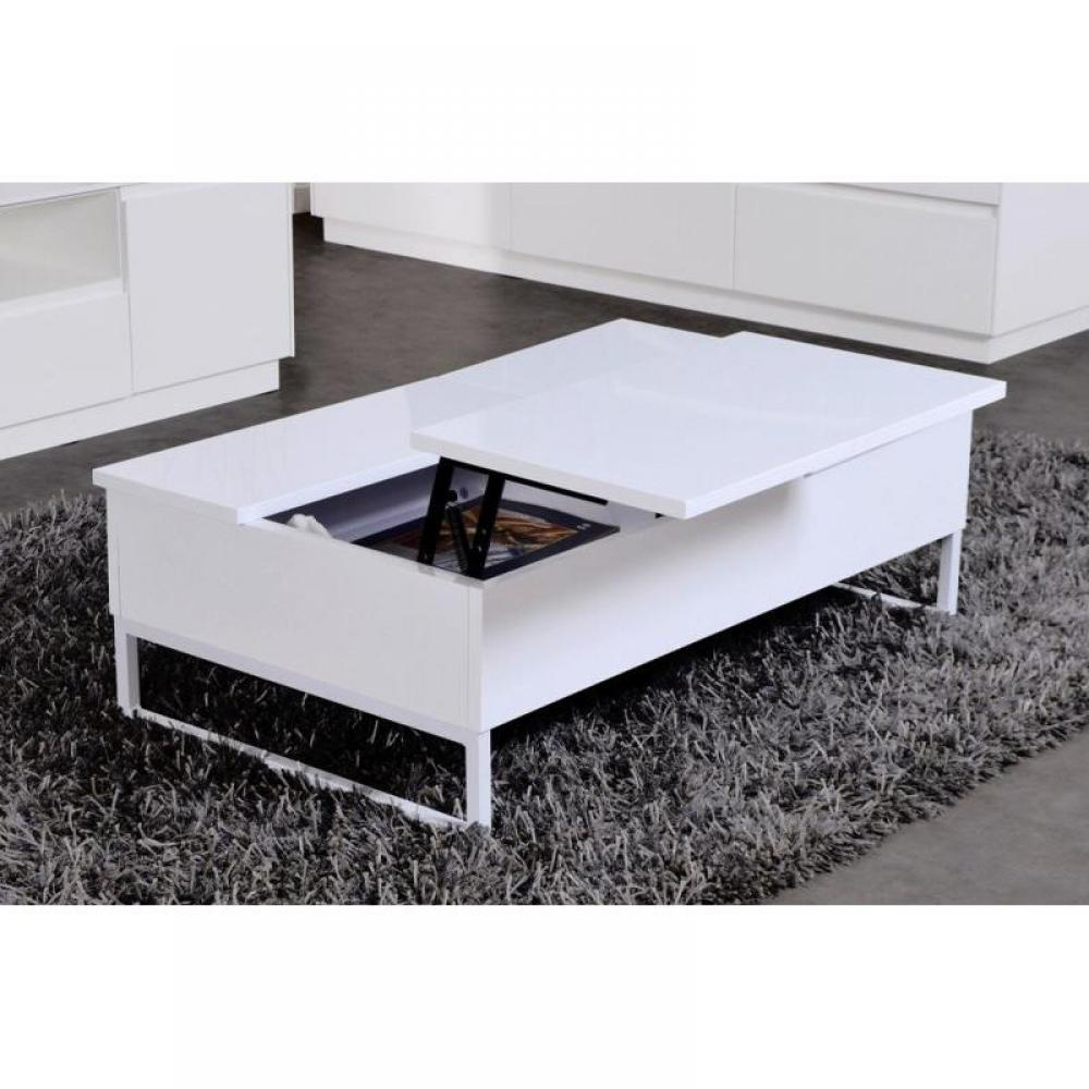 Tables basses tables et chaises modula blanche table for Table basse carree avec rangement