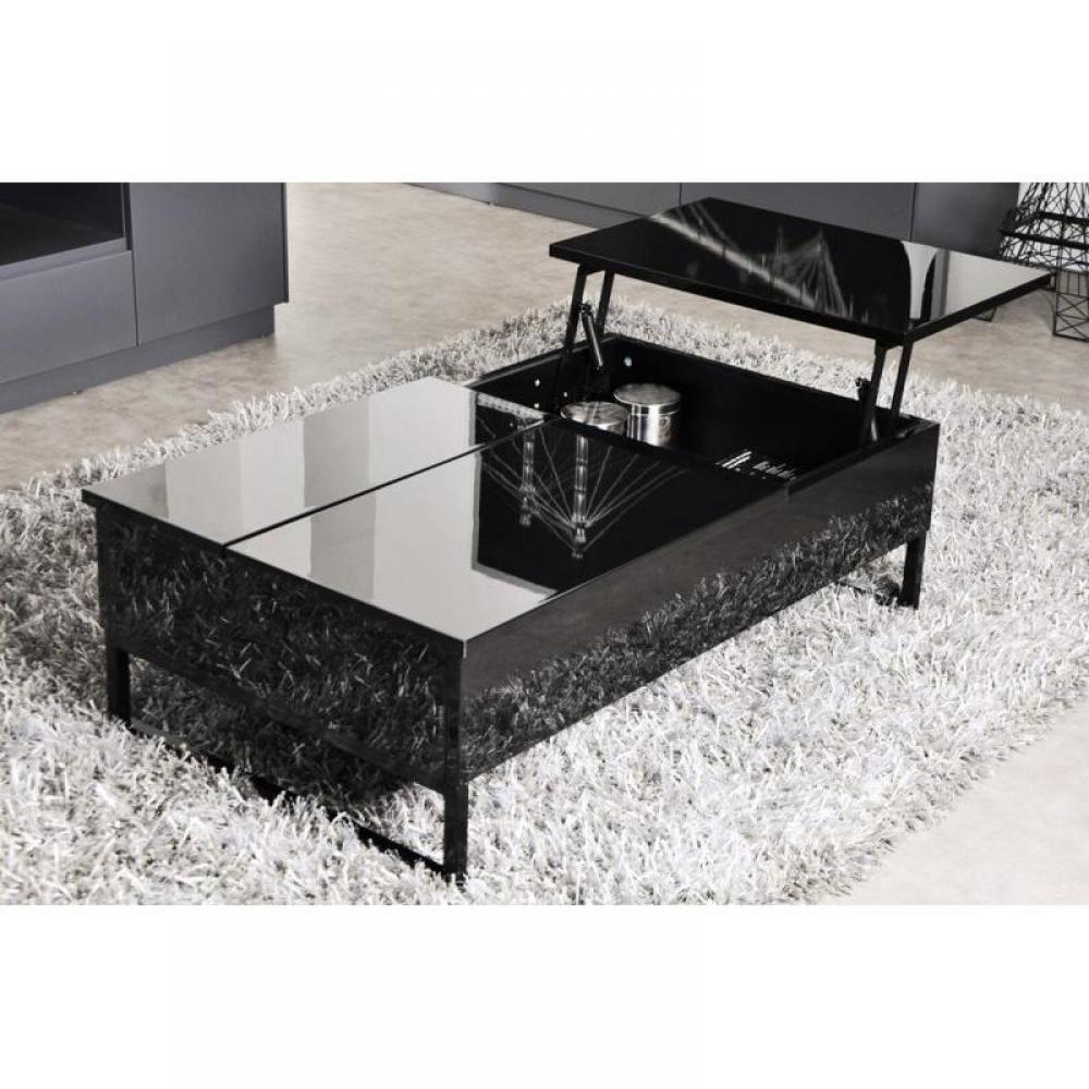 Table basse avec rangement holly noir - Table basse modulable conforama ...