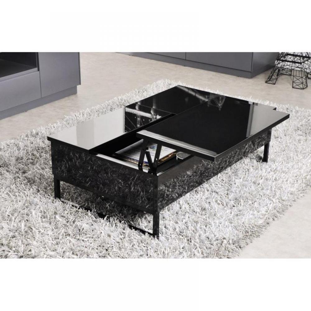 table basse noire avec rangement. Black Bedroom Furniture Sets. Home Design Ideas