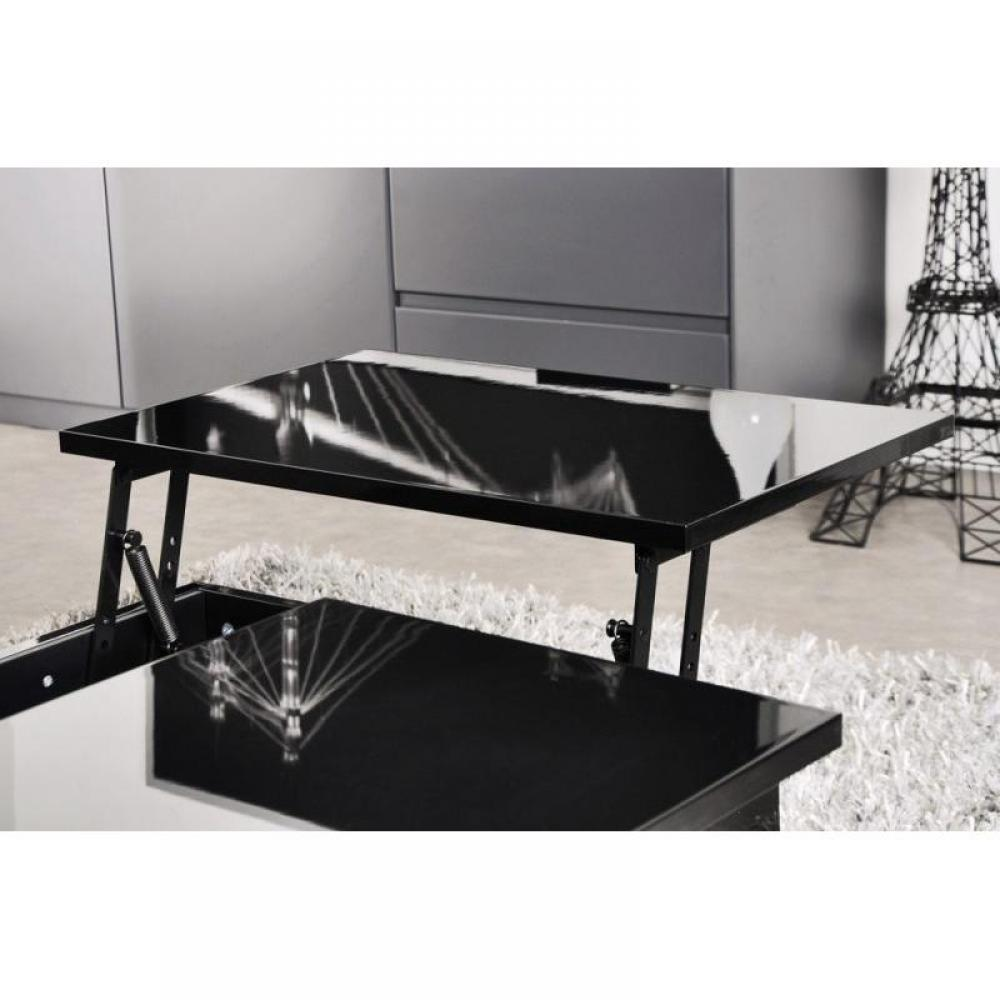table basse noir avec rangement. Black Bedroom Furniture Sets. Home Design Ideas