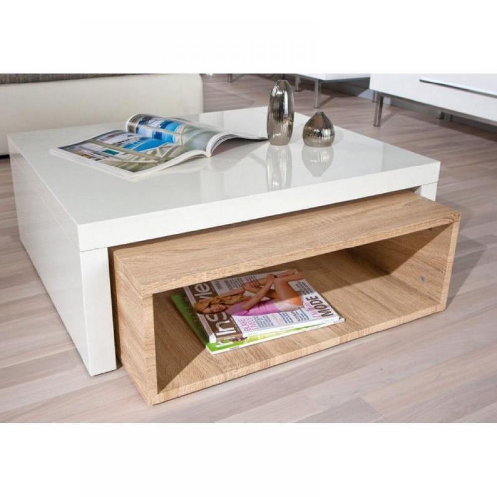 Tables modulables tables et chaises table basse design zola blanche et ch n - Table modulable design ...