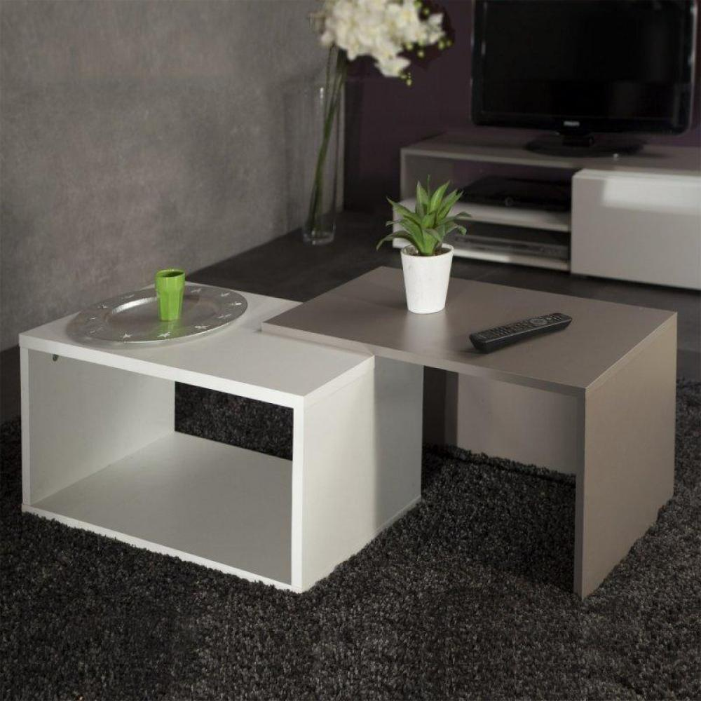 tables basses tables et chaises duet double table basse blanc et taupe inside75. Black Bedroom Furniture Sets. Home Design Ideas