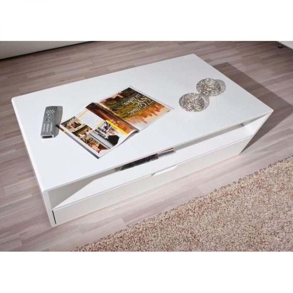 Tables basses meubles et rangements table basse neomi - Table basse blanche avec tiroir ...