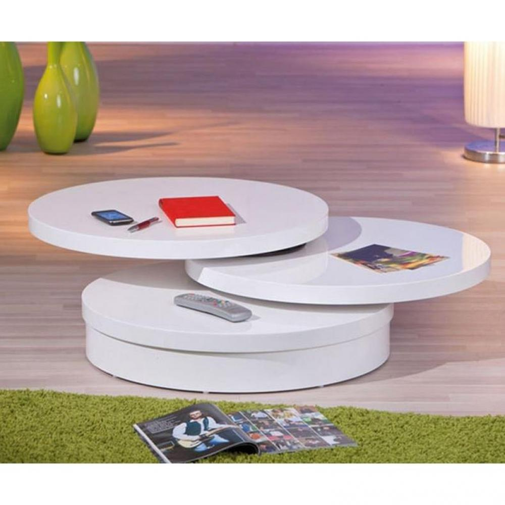 Tables basses tables et chaises table basse pivotante lana 3 plateaux blanc - Table basse pivotante ...