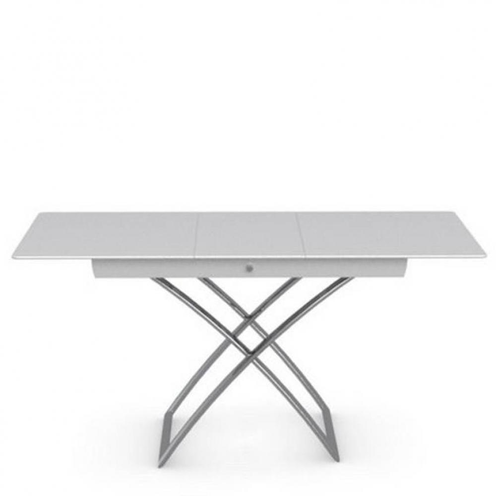 CALLIGARIS Table basse relevable extensible italienne MAGIC J Glass en verre extra-blanc