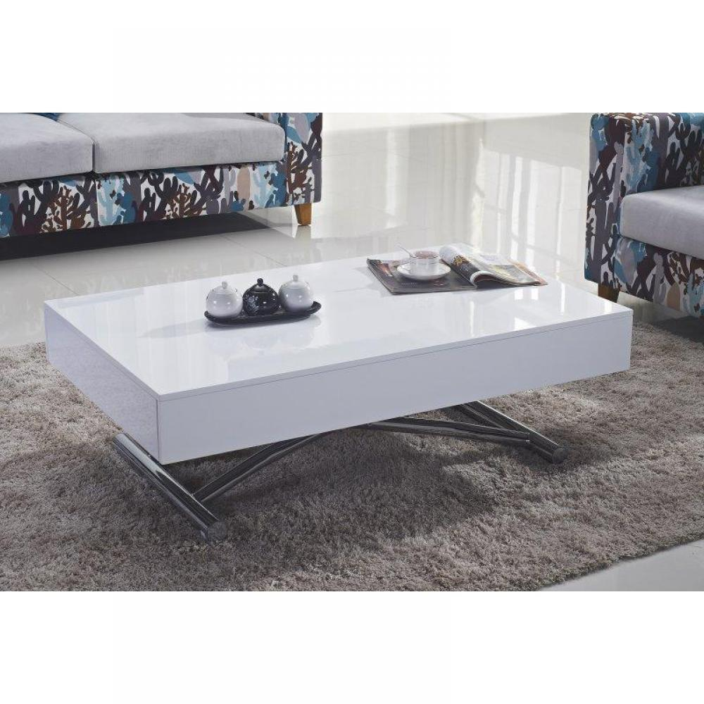 Table basse relevable blanc for Table basse blanche en bois