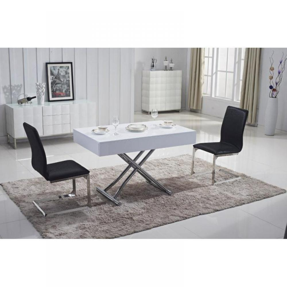 tables relevables tables et chaises table basse relevable box blanche brillante extensible 12. Black Bedroom Furniture Sets. Home Design Ideas