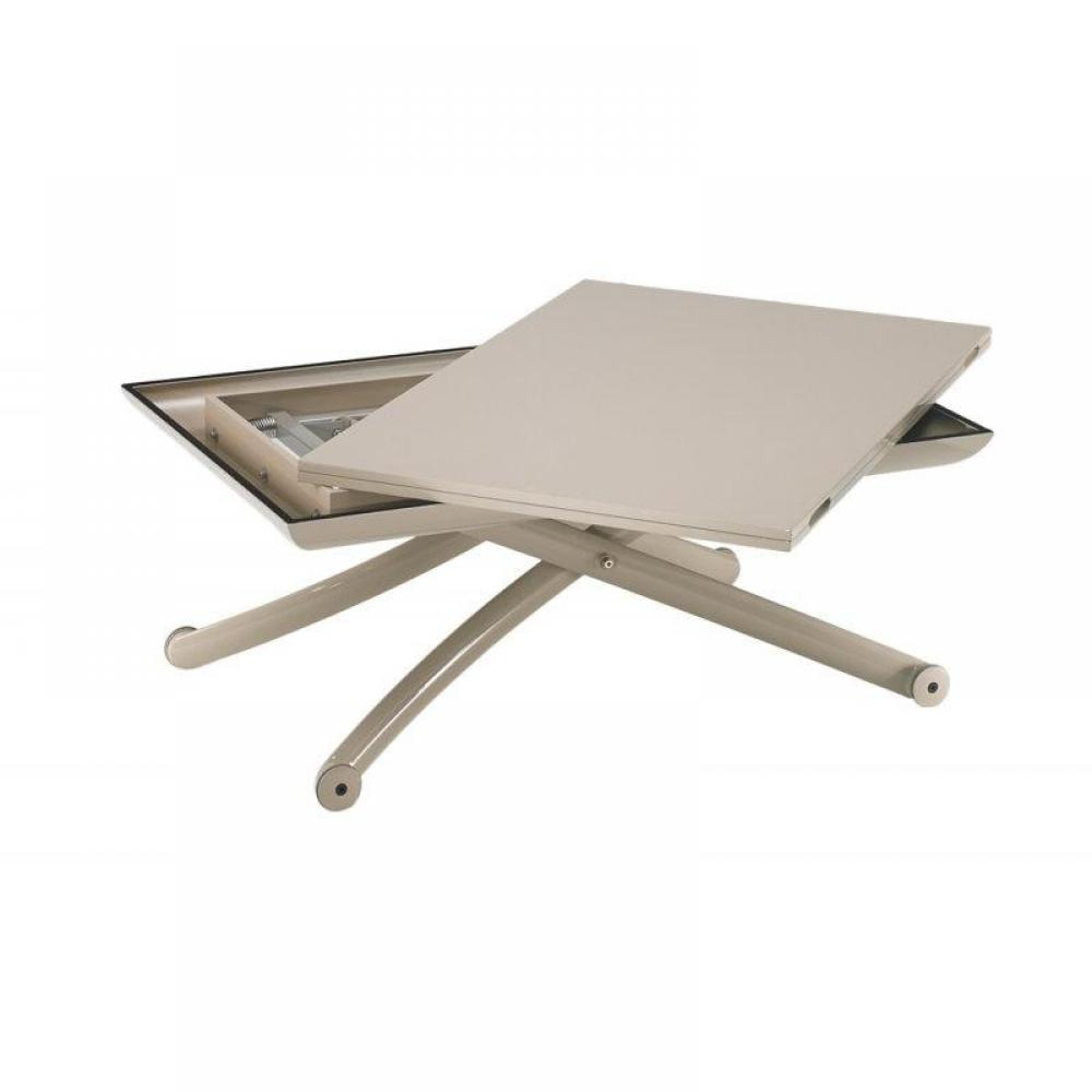 Table basse class relevable extensible plateau laqu taupe for Table basse plateau relevable fly