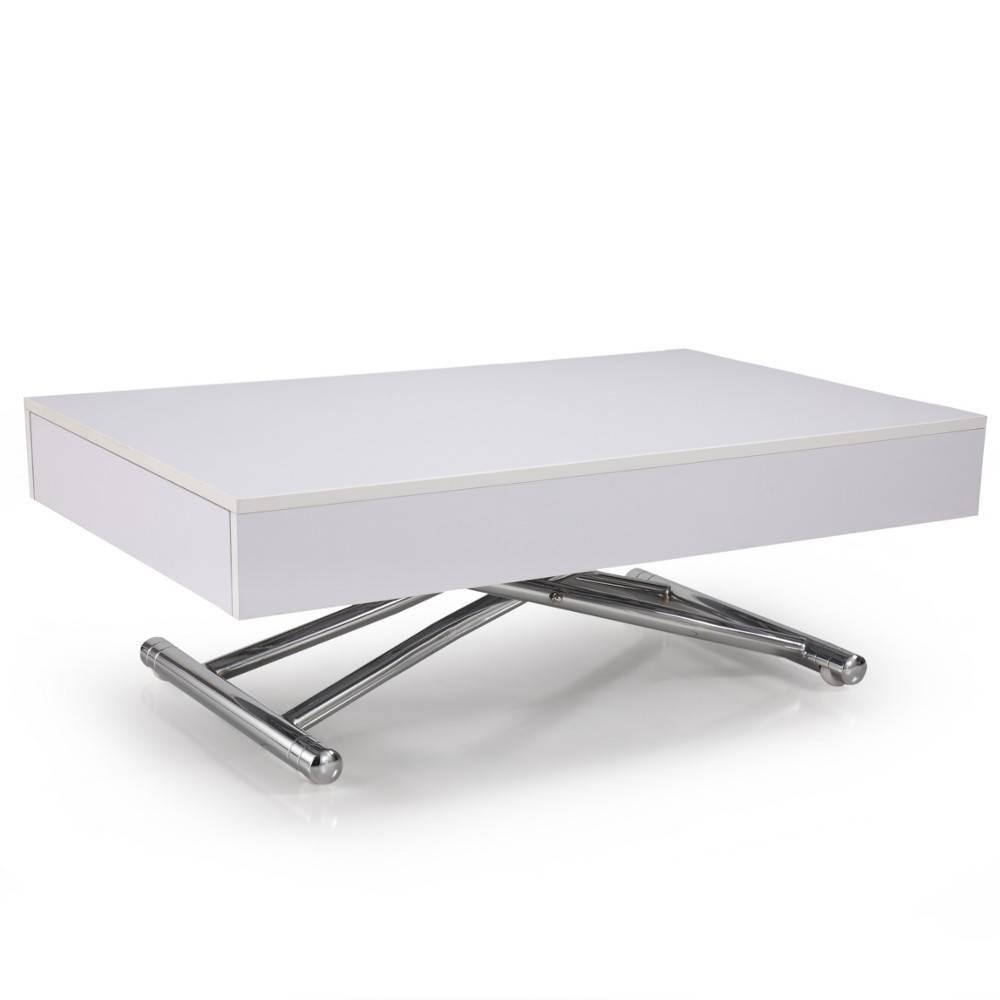 Table basse relevable cube blanche brillante extensible - Table basse blanche plateau relevable ...