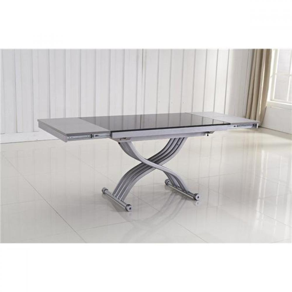 Tables relevables meubles et rangements table basse form relevable extensib - Table verre noir extensible ...
