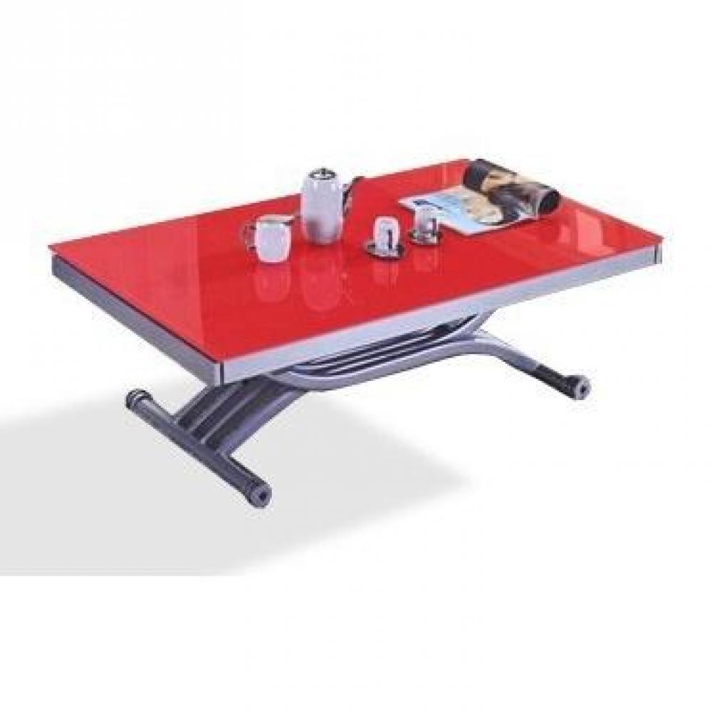 Table basse FORM relevable extensible, plateau en verre rouge.