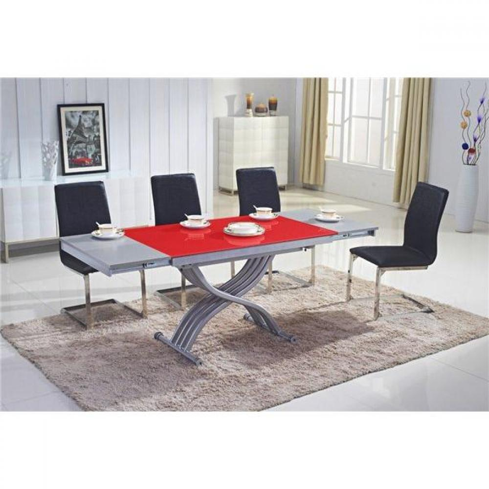 Table basse en verre rouge for Table basse rouge