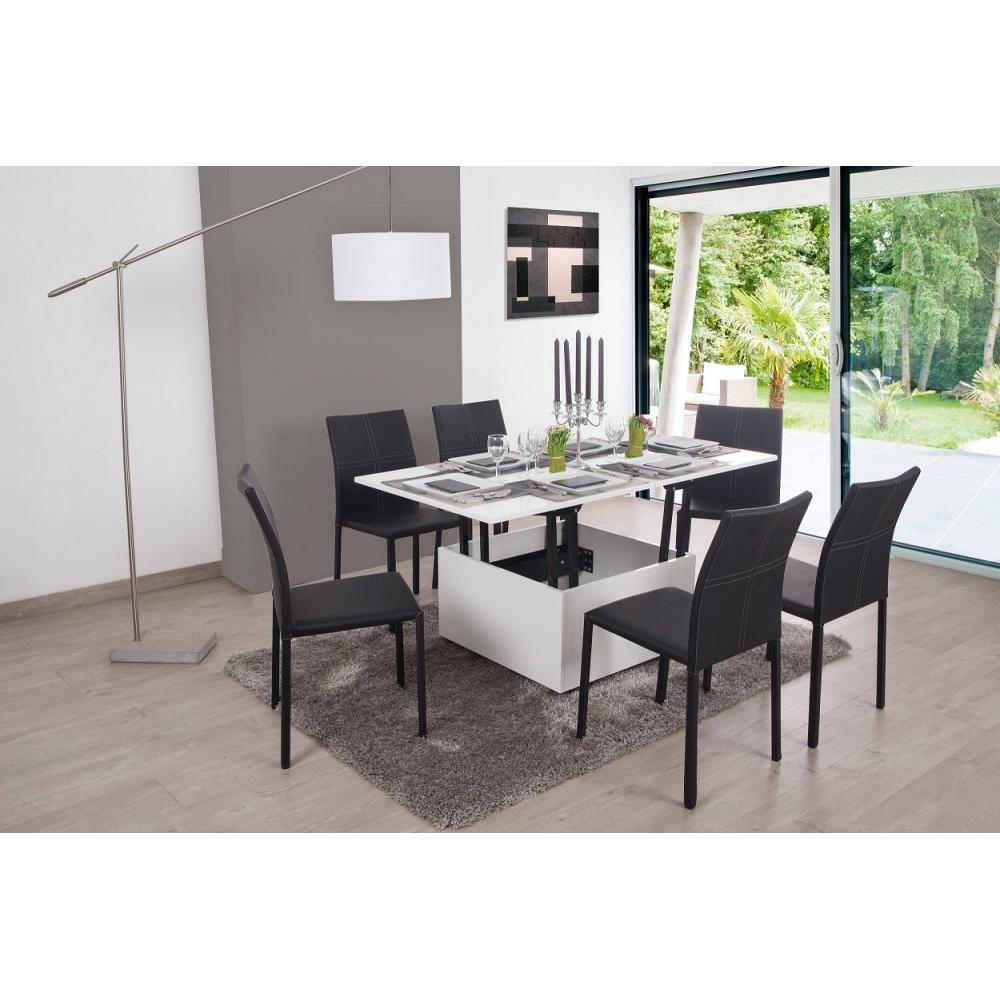 Table relevable blanche maison design - Tables basses relevables ...