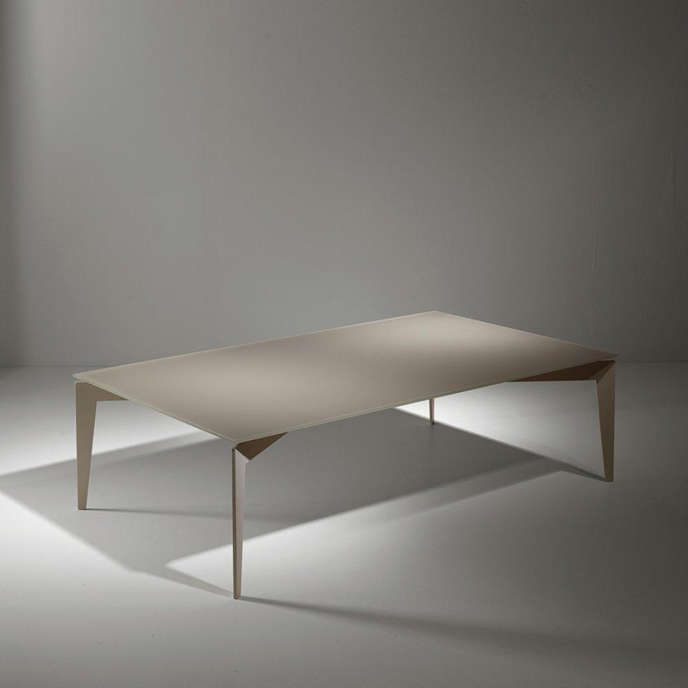 Tables basses tables et chaises table basse rocky en verre taupe inside75 - Table basse blanche et taupe ...
