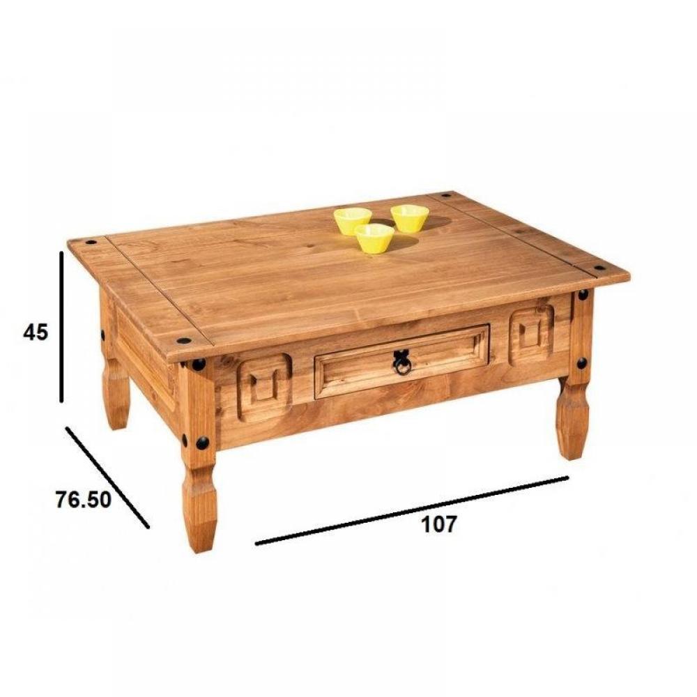 tables basses tables et chaises table basse rustique en pin massif 1 tiroir inside75. Black Bedroom Furniture Sets. Home Design Ideas