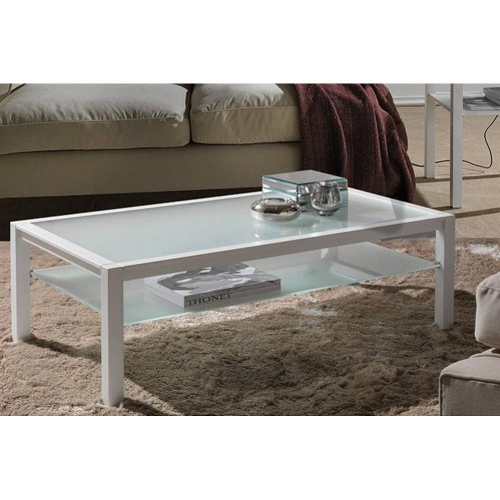 Tables basses tables et chaises table basse domus blanc design en verre bla - Table basse verre et blanc ...