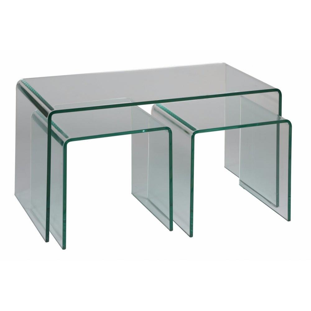 Tables basses tables et chaises lot de 3 tables basses tanzanite en verre - Verre pour table basse ...