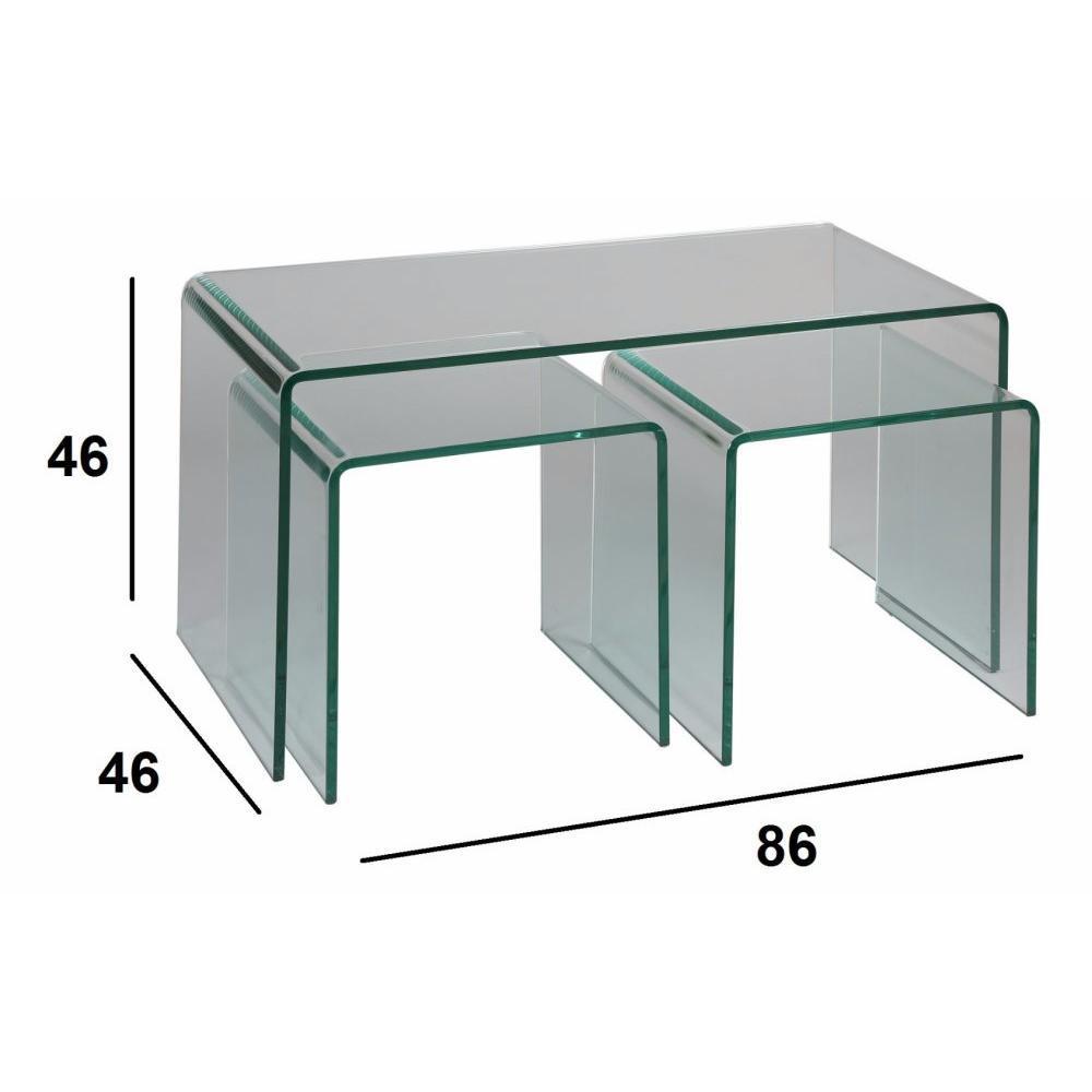 Tables basses tables et chaises lot de 3 tables basses for Chaises pour table en verre