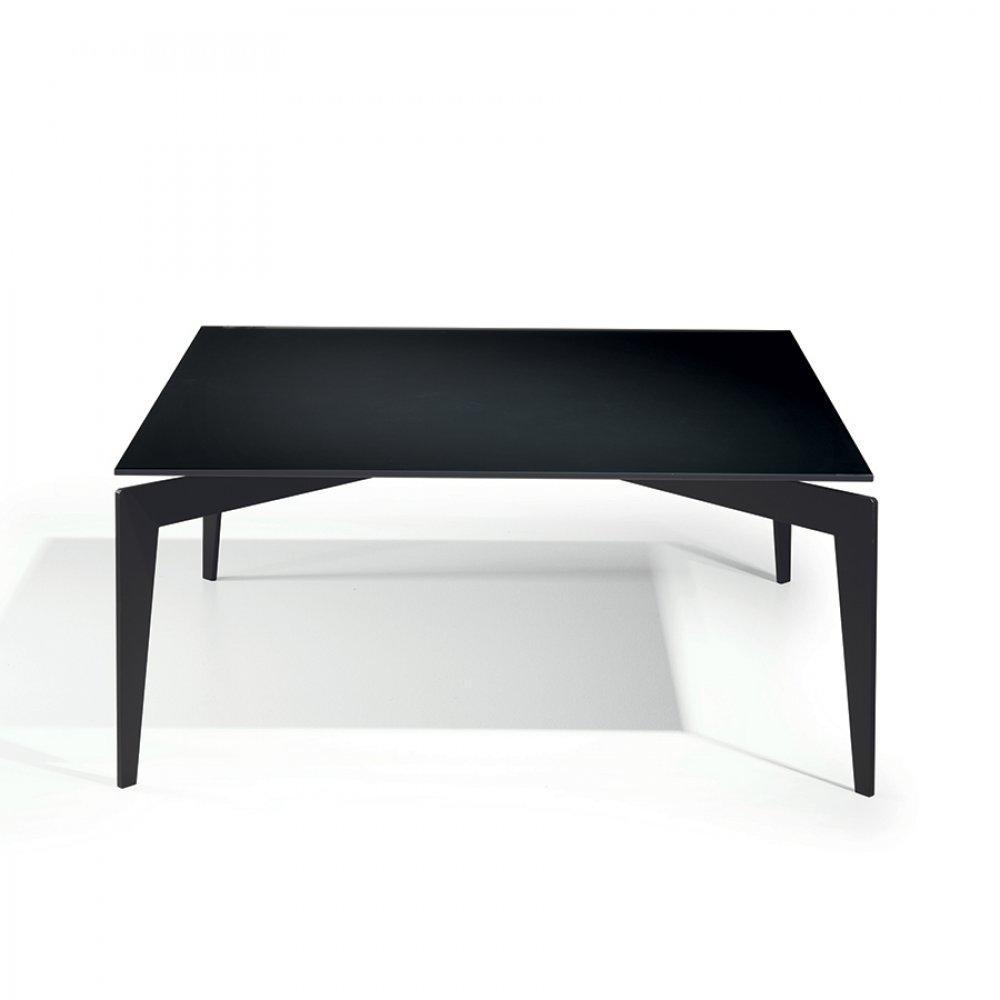Tables basses tables et chaises table basse tobias en verre noir inside75 - Table basse en verre trempe noir ...