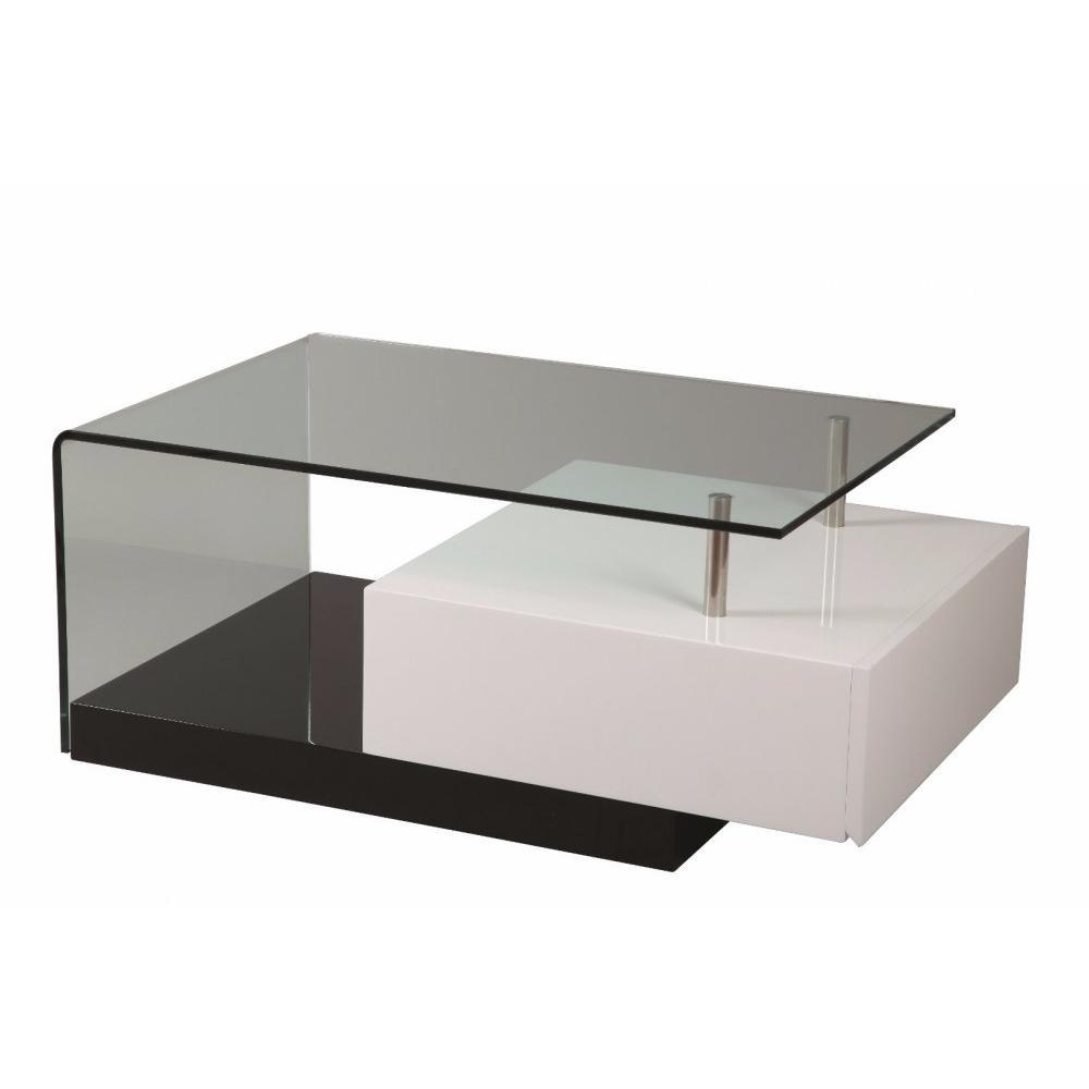 tables basses tables et chaises table basse trunk en verre transparent tiroir blanc laqu. Black Bedroom Furniture Sets. Home Design Ideas