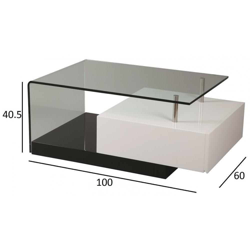 Table Basse Blanc Laque Tiroir