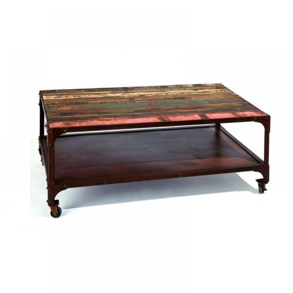 Tables basses tables et chaises table basse unique rainbow en bois de manguier recycle et - Table basse en manguier ...