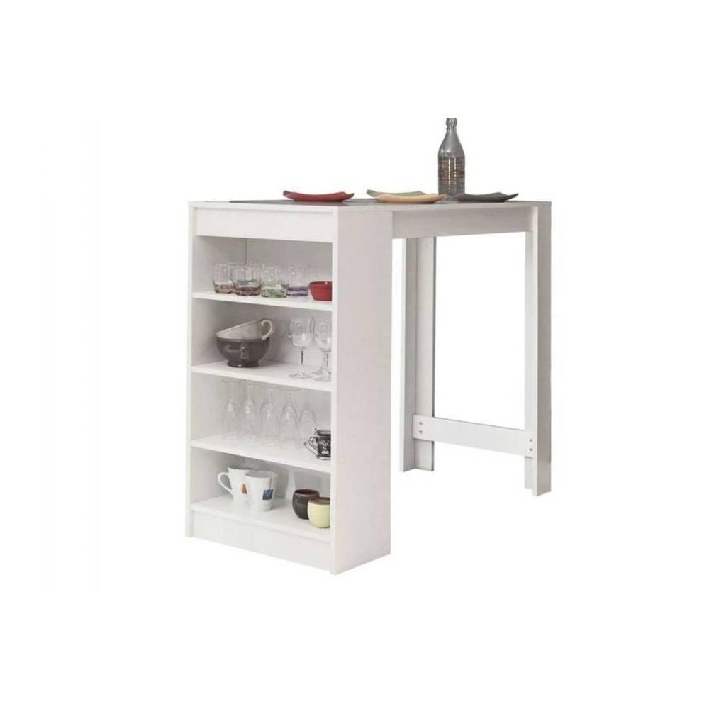 Bars tables et chaises table de bar dolar blanche inside75 for Table avec rangement cuisine