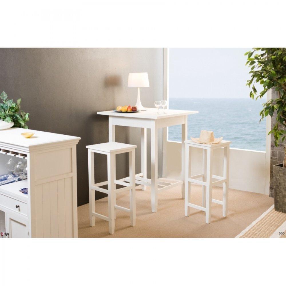 bars tables et chaises table de bar eva en bois blanc style charme colonial inside75. Black Bedroom Furniture Sets. Home Design Ideas